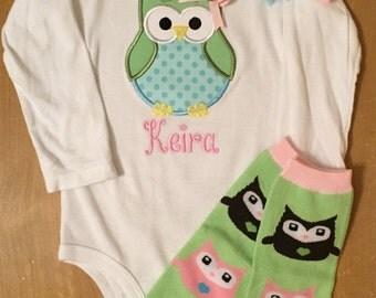 ON SALE Pastel Owl Shirt or Baby Bodysuit, Legwarmer, and Headband Set