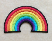 """Rainbow Pride Patch Bright Rainbow Patches - Iron On Embroidered Decal -  2 7/8"""" x 1 6/8"""" Patches for Jackets Hats Shoes Shirts"""