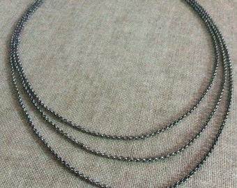 3 Layered antique silver chain necklace