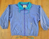 Clean Cut Blue and Turquoise Pacific Trail 80s/90s Lightweight Windbreaker Jacket - Cool as Can Be - Unisex Small