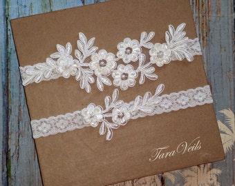 Wedding garter, Bridal garter, Ivory Garter, wedding garters, bridal garter set/ Floral lace garter, Vintage Garter, Garter set,White Garter