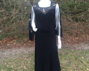 1930s black crepe dress with embroidered tulle sleeves UK 10/12 US 6/8