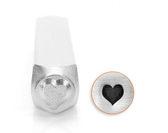 Heart Metal Stamp ImpressArt Design 6mm Playing Cards Stamp Suit of Heart, Solid Heart, Tool For Metal Stamped Jewelry Leather Crafting Clay