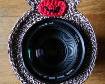 MADE TO ORDER Crochet Sock Monkey Lens Buddy Sock Monkey Photography Prop Sock Monkey Photo Prop