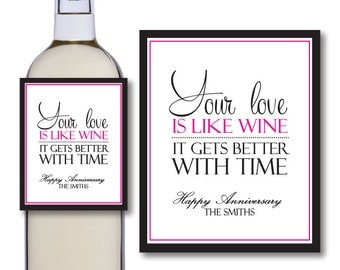 Anniversary Wine Bottle Labels - Couples Wine Bottle Labels - Printable Wine Bottle Labels - Personalized Wine Bottle Labels