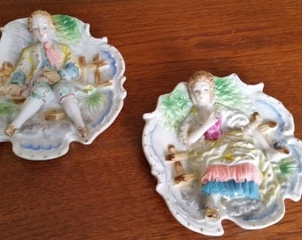 Girl & Boy Colonial Wall Hanging Pair, Made in Japan