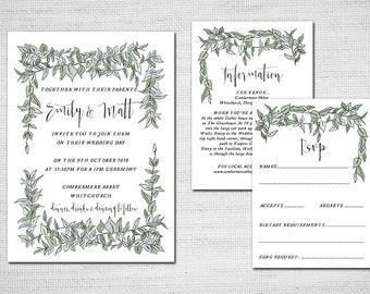 Printable Wedding Invitation -Greenery Leaves Wedding Invite