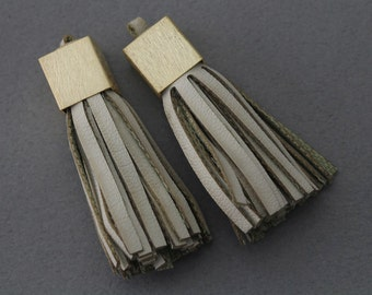 Ivory Leather Tassel . Jewelry Craft Supply . 16K Matte Gold Plated over Brass Cap / 2 Pcs - ...
