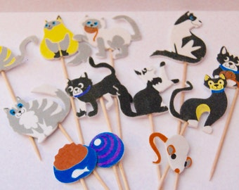 black white and  grey  cats cupcake toppers food picks l birthdays 12 x cupcake toppers