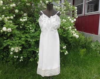 "SALE Vintage 1950s white lace slip NOS acetate nylon leaf applique size 38 35"" bust 32"" waist 41"" hips Lerner Shops"