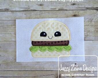 Hamburger with Face Applique Design
