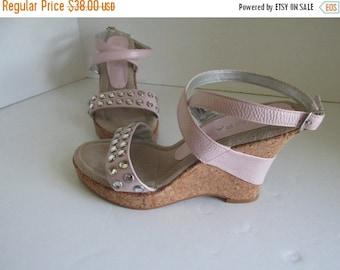 SALE Pastel Pink Wedge Sandals sz 6.5 Wedge Heel Pink Sandals Rhinestone cork wedge heel sandals