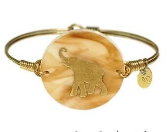 Elephant Bracelet | Boho Chic Elephant | Wire Wrap Jewelry | Engraved Acrylic