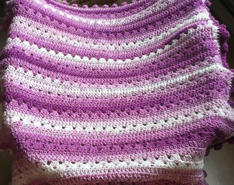 Hand Crocheted  Raspberry Ripple Colour Recipe  Baby Travel Blanket
