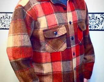 1950's Wool Plaid Genuine Melton Flannel Shirt, Vintage Hipster Wool Jacket, Large Men's Lumberjack Flannel, 1950's Melton Grunge Flannel