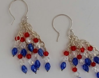 Red, White & Blue Chandelier Earrings