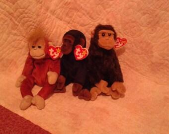 3 TY monkey Beanie baby