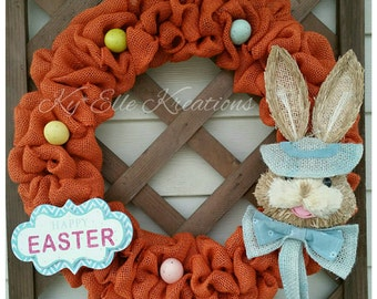 Easter Wreath, Easter Bunny Wreath w/ Easter Eggs, Burlap Bunny Wreath, Spring Wreath, Easter decoration, home decor wreath, easter decor