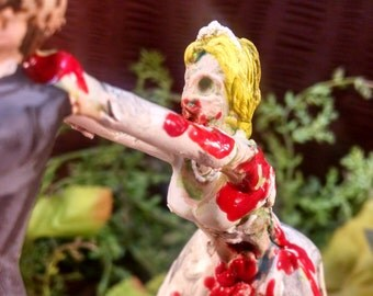 Zombie Bride Catching Groom Cake Topper
