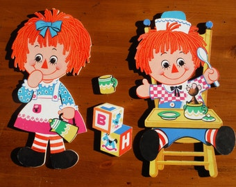 Vintage Raggedy Ann and Andy Wall Decor Decorations - Vintage 1972 Bobbs Merrill Co. Raggedy Ann Andy Doll - Raggedy Ann 1970's Decoration