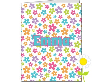 Personalized Folder for Kids - Flower Pocket Folder for Girls - Custom School Folder - Floral Folder in Pink, Purple, Lime, Orange, Aqua