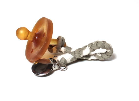 Jersey Pacifier Clip / CREAM and TAN Braided Pacifier Clip / soothie / binky clip / pacifier holder