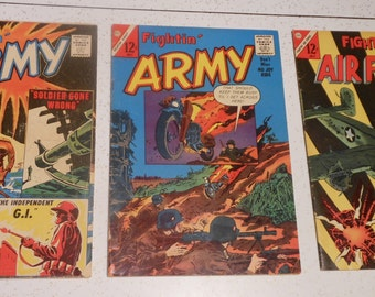 3 Vintage .10 .12 COMIC BOOKS- Fightin' Army and Fightin' Air Force 1961 & 1963