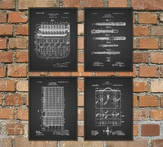 Office Wall Decor Set : Accountant patent print set of accountancy poster office