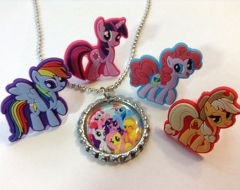 My Little Pony Girls Jewelry Set Rings and Bottle Cap Necklace