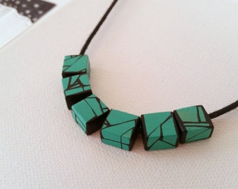 Green Turquoise Painted Wood Bead Necklace