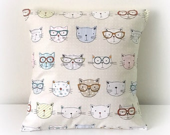 """Handmade Cool Cats Fabric Cushion Cover 16""""  Cotton Pillow"""