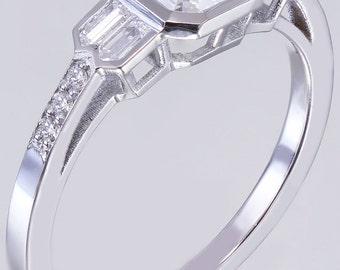 14K White Gold Asscher Cut Diamond Engagement Ring Bezel Set 1.40ct G-VS2 GIA