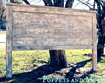 Poppets + Moon- Whitewashed Headboard- Most Popular-- Nautical, Grays, Bohemian. Driftwood.  Reversible. We Ship-  King, Queen, Full, Twin