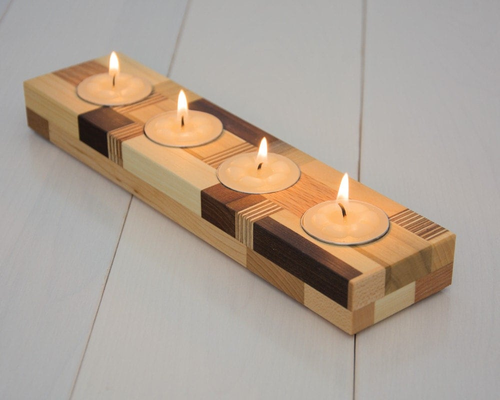 Wood Candle Holder Tea Light Candle Holder Home By Ecokazen