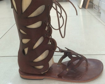 ADRASTEIA : Half Boots Between The Toes Leather Gladiator Sandal Handmade leather sandal custom size available