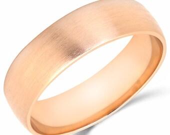 10K Solid Rose Pink Gold 6mm Brush Finish Wedding Band Ring
