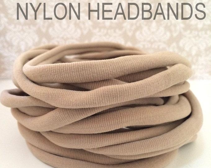 25 Pieces - Wholesale Nylon Elastic Headbands   N U D E   Bulk Toddler to Adult Headbands   8 mm   30-34 cm  