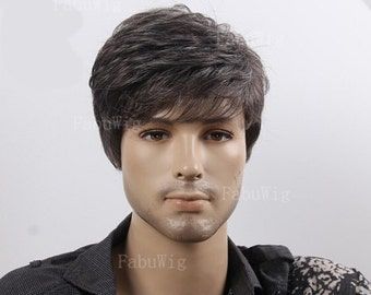 Short Side Parting Wigs Black and White Grey Daily Hairpiece For Men