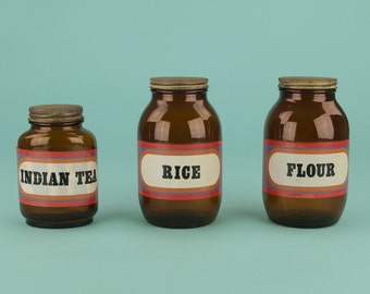 Vintage Brown Glass Storage Jars for Tea, Rice and Flour