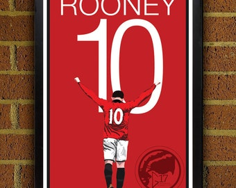 Wayne Rooney Poster - Manchester United Soccer Poster 8x10, 13x19, print, art, home decor, wall decor, red devils poster
