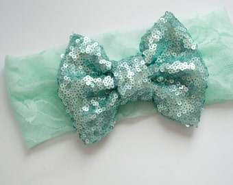 Sparkle Bow MInt Lace