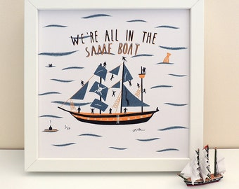 All in the same boat illustrated summer print