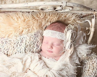 Off White/Ivory Fabric Rolled Rosette Headband with Sparkling Gold Lace,Birdcage Netting, Rhinestones & Feathers/Christening Headband