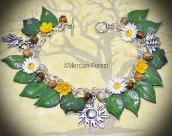 Summers Light Daisy and Buttercup Bracelet - Handmade Pagan Jewellery, with Summer Flowes for Wicca, Witch, Litha, Solstice