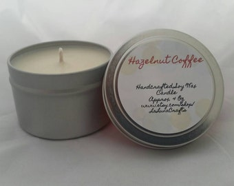 Hazelnut Coffee Soy Candle Tin 4 Ounces - Coffee Candle - Coffee Scented - Strongly Scented - Hand Poured Candle - Breakfast Candle