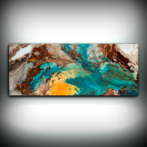 Canvas wall decor large abstract wall art print blue brown for Blue and brown wall art