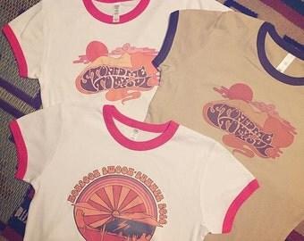 SALE Classic Rock Couture Ringer Tees | Original CRC artist drawn hand printed Van Morrison tshirt psychedelic 70s boho hippie rock n roll