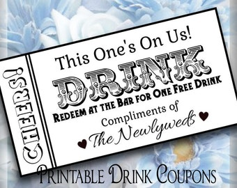 Drink Tickets DIY Wedding Printable Instant Download Digital Bar Tickets Do It Yourself