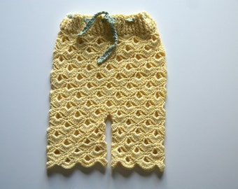 Crochet Baby Pants, Newborn pants, Baby Girl Pants, Yellow Baby Pants, Newborn Pants, Baby Photo Prop, Newborn Cotton Pants