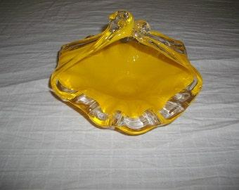 Hand Blown Yellow Glass Bowl